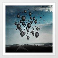 In Limbo - black balloons Art Print