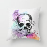 Color Skull Throw Pillow