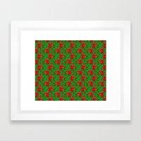 Red Poinsettia Plaid Framed Art Print