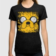Jake The Dog Womens Fitted Tee Tri-Black MEDIUM