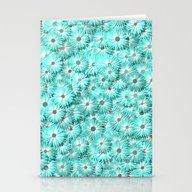 Teal Daisy Flowers Stationery Cards