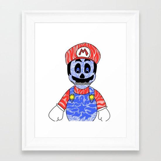 Blue Mario Framed Art Print