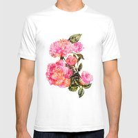 Pink Peonies  Mens Fitted Tee White SMALL