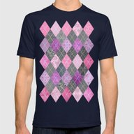 Magic Argyle Quilt Mens Fitted Tee Navy SMALL