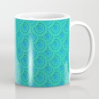 Teal Parasols Pattern Mug