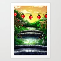 A Bridge Over Placid Wat… Art Print