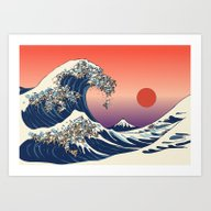 Art Print featuring The Great Wave Of Englis… by Huebucket