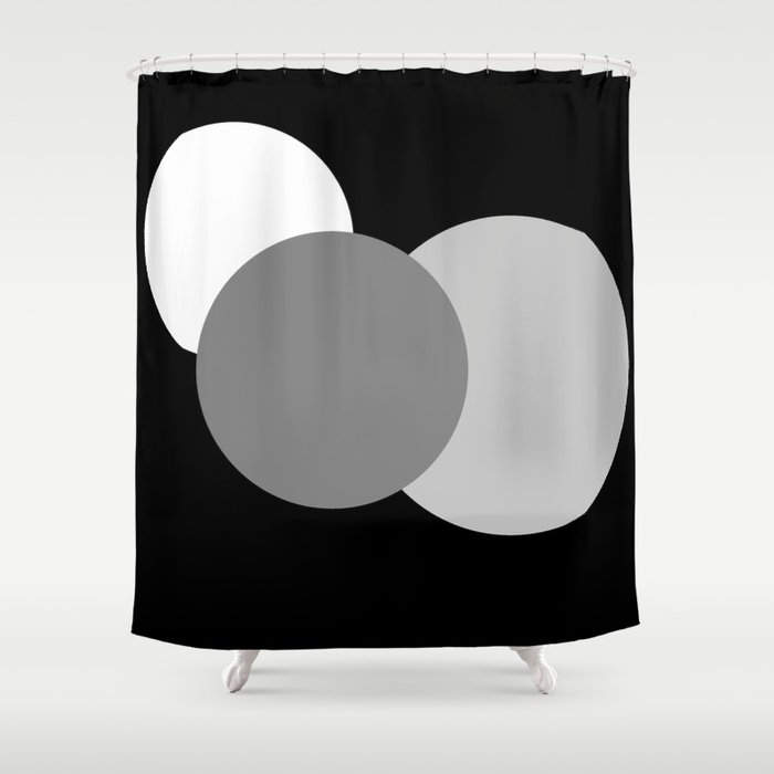 Black Gray White Modern Circles Shower Curtain By