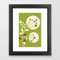 Retro Lime Bouquet Framed Art Print