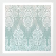Lace & Shadows - soft sage grey & white Moroccan doodle Art Print