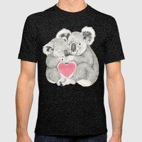 Koalas love hugs Mens Fitted Tee Tri-Black SMALL