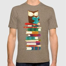 Owl Reading Rainbow Mens Fitted Tee Tri-Coffee SMALL