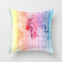 Rainbow World Map Throw Pillow