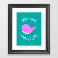 Whale, thank you! -Pink Version Framed Art Print