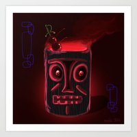 Tiki Black Art Print