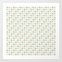 Pattern: Olive + Peach Arrows Art Print