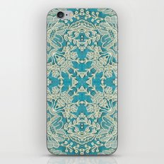 floral lace on blue iPhone & iPod Skin