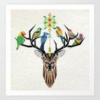 deer birds Art Print