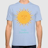 Hello Sunshine Mens Fitted Tee Tri-Blue SMALL