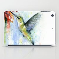 Hummingbird and Red Flower Watercolor iPad Case