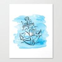 Live A Salty Life - Blue Canvas Print