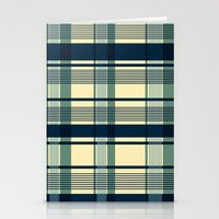 Blue Plaid Pattern Stationery Cards