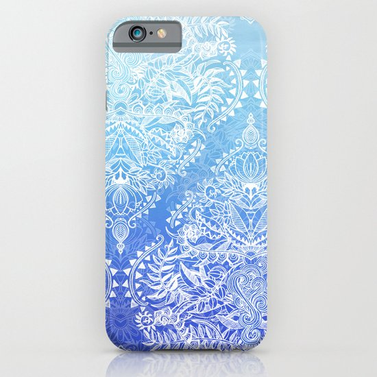 Blue - White Lace Doodle in Ombre Aqua and Cobalt iPhone & iPod Case