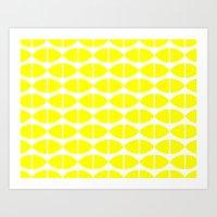 Lemons Pattern Art Print