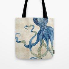 Indigo Ocean Octopus Blue n Tan Watercolor Tote Bag