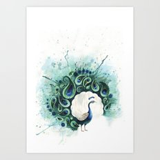 Circle Peacock Art Print