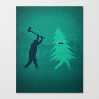 Funny Christmas Tree Hun… Canvas Print
