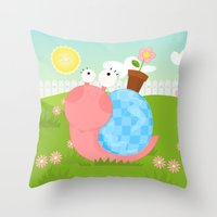 Pink Snail (female) Throw Pillow