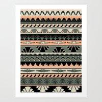 Art Deco Stripes - Salmo… Art Print