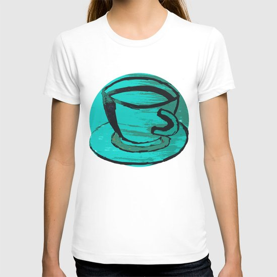 tea cup in green T-shirt