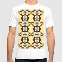 Deer Poker Theme Pattern Mens Fitted Tee White SMALL