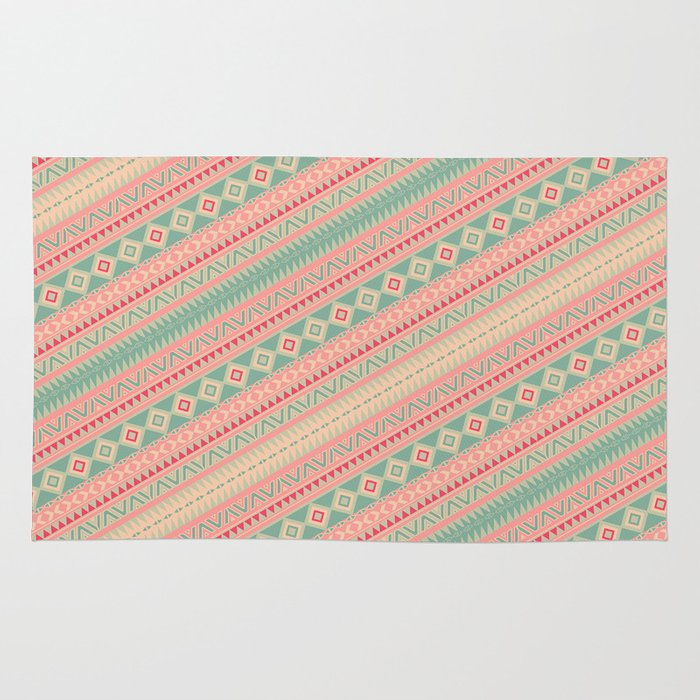 Retro Turquoise Pink Abstract Andes Aztec Pattern Rug By