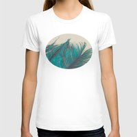 Turquoise Feather Abstra… Womens Fitted Tee White SMALL