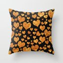 Valentine's | Girly Gold Glitter Cute Love hearts Pattern Black Throw Pillow