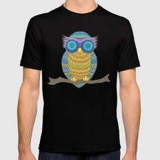Henna Owl Mens Fitted Tee Black SMALL