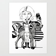 the girl, her dog and a bird Art Print