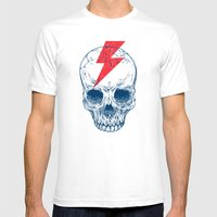Skull Bolt Mens Fitted Tee White SMALL
