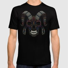 demon skull teal SMALL Mens Fitted Tee Black