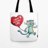 Happy Valentine's Day - Balloon heart and a kitten Tote Bag