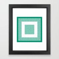 Greek Key emerald Framed Art Print