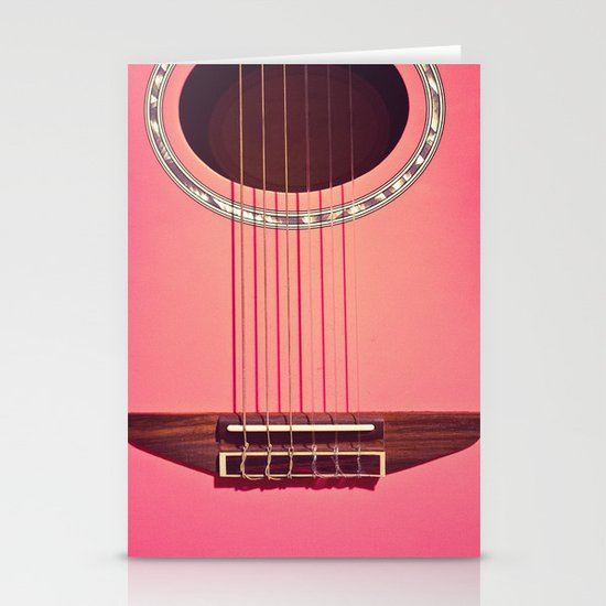 Pink Guitar Stationery Card