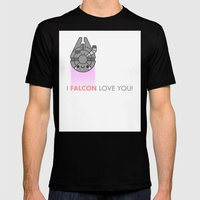i FALCON love you Mens Fitted Tee Black SMALL
