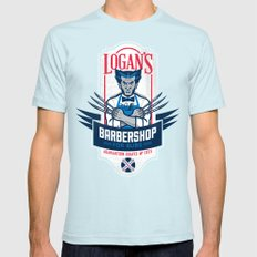 Logan's Barbershop SMALL Light Blue Mens Fitted Tee