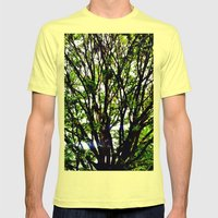 Leaves and Branches 3 Mens Fitted Tee Lemon SMALL