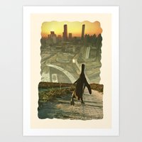 Penguin City Art Print