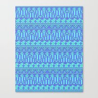 Aztec duo color blue pattern Canvas Print